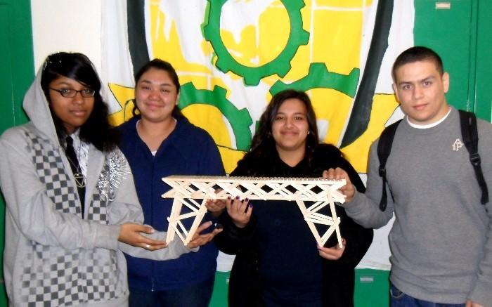 SAGE @ Belmont: (left to right) Mishanta James, Laura Meza, Africa Gutierrez, Christian Lopez, representing SAGE at USC and CSULA Bridge Building Contest. All students are currently seniors, class of 2012